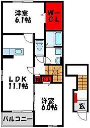 JR鹿児島本線 福間駅 5.9kmの賃貸アパート 2階2LDKの間取り