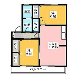 静岡県静岡市清水区石川新町の賃貸アパートの間取り