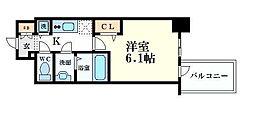 プレサンス心斎橋クオーレ 4階1Kの間取り