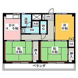ビレッジハウス増田2号棟[1階]の間取り