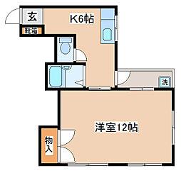 兵庫県神戸市兵庫区馬場町の賃貸マンションの間取り