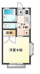 栃木県宇都宮市富士見が丘3丁目の賃貸アパートの間取り