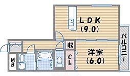 ルノン瓦林 2階1LDKの間取り