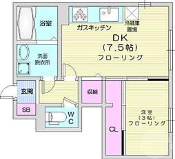 仙台市営南北線 台原駅 徒歩16分の賃貸アパート 1階1DKの間取り