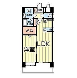 熊本電気鉄道 北熊本駅 徒歩5分の賃貸マンション 2階1LDKの間取り