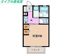 三重県桑名市野田4丁目の賃貸アパートの間取り