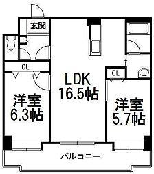 NOVA東札幌[10階]の間取り