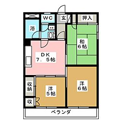 旭ハイツ[4階]の間取り