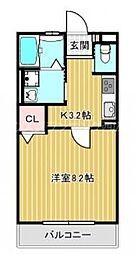 JR山陽本線 新井口駅 徒歩15分の賃貸アパート 2階1Kの間取り