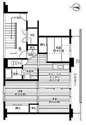 ビレッジハウス中央1号棟 4階3DKの間取り