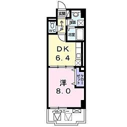 ハックベリー茨木南 4階1DKの間取り