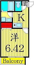 第IIIコーポ早川 2階1Kの間取り