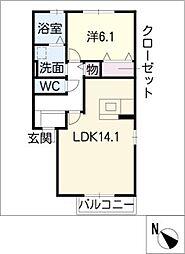 ラビアンローズ徳重C棟[2階]の間取り