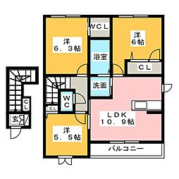 ビューコートM B棟[2階]の間取り