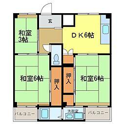 ビレッジハウス加賀田  1[4階]の間取り