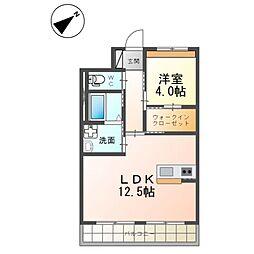 (仮)つくば市流星台新築マンション(ペット可) 3階1LDKの間取り