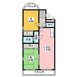アルカディア鶴里[4階]の間取り