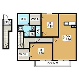 愛知県日進市岩崎台3丁目の賃貸アパートの間取り