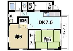 京都府木津川市相楽台9丁目の賃貸アパートの間取り