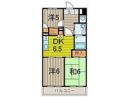 埼玉県蕨市中央1丁目の賃貸マンションの間取り