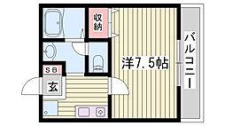 JR播但線 野里駅 徒歩30分の賃貸アパート 2階1Kの間取り
