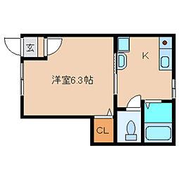 奈良県大和高田市片塩町の賃貸アパートの間取り