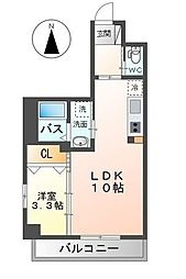 JR鹿児島本線 竹下駅 徒歩14分の賃貸マンション 4階1LDKの間取り