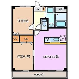 三重県四日市市西富田3丁目の賃貸マンションの間取り