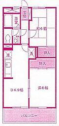 神奈川県川崎市多摩区中野島2丁目の賃貸アパートの間取り