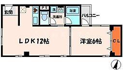 広崎マンション 1階1LDKの間取り