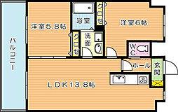 ヴァルトハヤシI[7階]の間取り