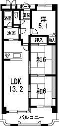 兵庫県姫路市田寺2丁目の賃貸マンションの間取り
