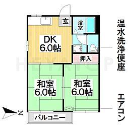 愛知県名古屋市南区西又兵ヱ町4丁目の賃貸アパートの間取り