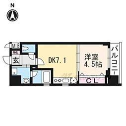 ベラジオ京都七条ウエスト205 2階1DKの間取り