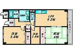 スピカリヴェルテ 8階2SDKの間取り