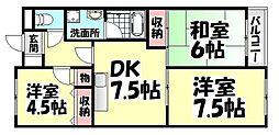 大阪府高石市高師浜3丁目の賃貸マンションの間取り