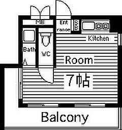 丸栄マンション幸町 6階ワンルームの間取り