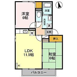 埼玉県春日部市緑町5丁目の賃貸アパートの間取り