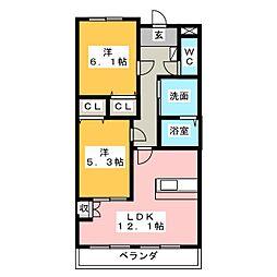 ジュピター左京山[2階]の間取り