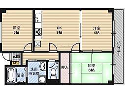 Osaka Metro谷町線 太子橋今市駅 徒歩4分の賃貸マンション 3階3DKの間取り