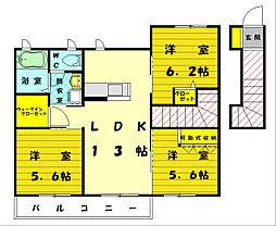 シャーメゾン舞[2階]の間取り