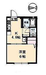 JR山陽本線 東岡山駅 徒歩15分の賃貸アパート 2階1DKの間取り