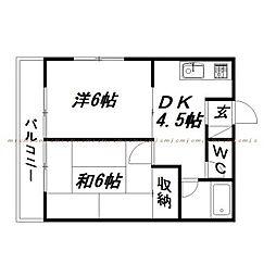 静岡県浜松市東区笠井町の賃貸アパートの間取り