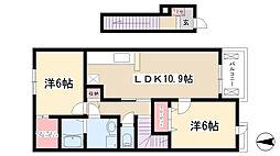 愛知県尾張旭市三郷町富丘73丁目の賃貸アパートの間取り