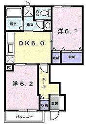 香川県坂出市加茂町甲の賃貸アパートの間取り