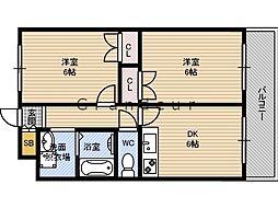 Mプラザ城東六番館 7階2DKの間取り