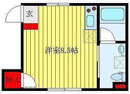 JR山手線 池袋駅 徒歩13分の賃貸マンション 1階ワンルームの間取り