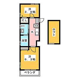 Abete横浜B 3階2Kの間取り