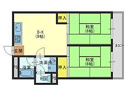 都マンション鶴橋[3階]の間取り
