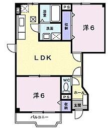 広島県福山市奈良津町3丁目の賃貸アパートの間取り